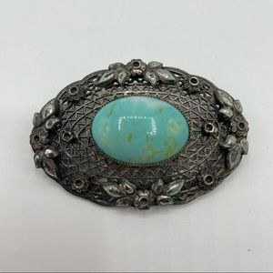 Vintage Czech Hubbell Turquoise Glass Pin Brooch